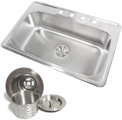 33 Inch Stainless Steel Top Mount Drop in Single Bowl Kitchen Sink with  Deluxe Lift Out Strainer