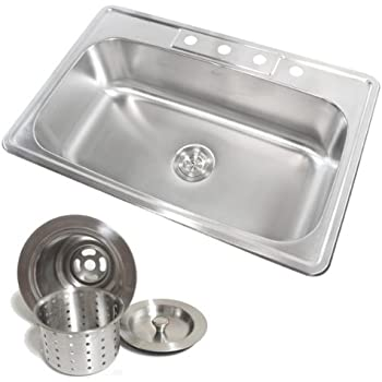 33 Inch Stainless Steel Top Mount Drop in Single Bowl Kitchen Sink ...