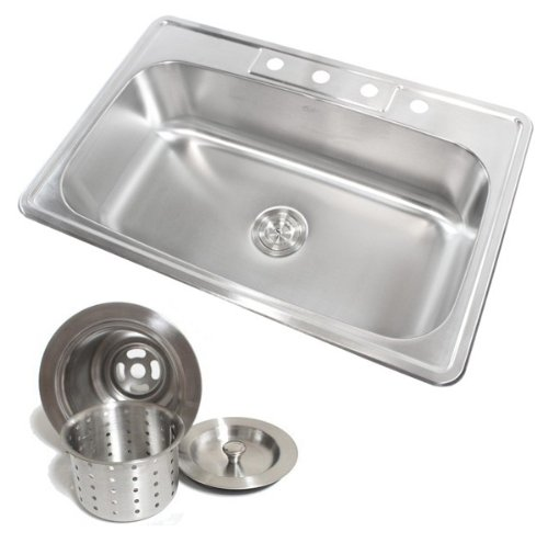 (33 Inch Stainless Steel Top Mount Drop in Single Bowl Kitchen Sink with Deluxe Lift Out Strainer )