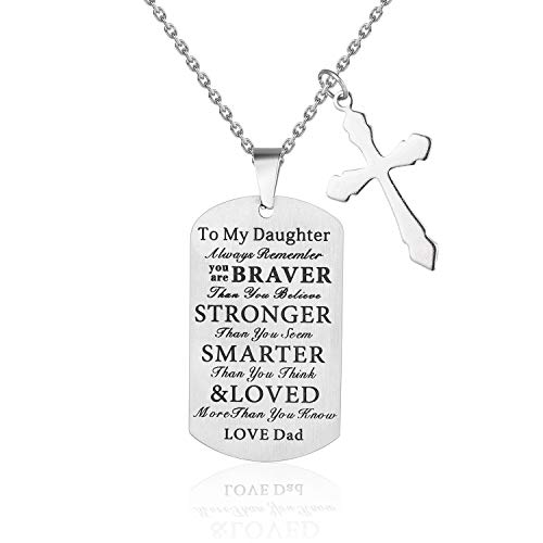 Gifts Tag Dog - LoveBIG Always Remember You are Braver Than You Believe,to My Daughter Kids Child Birthday Gift Jewelry Dog Tag Keychain Pendant Necklace from Dad Mom