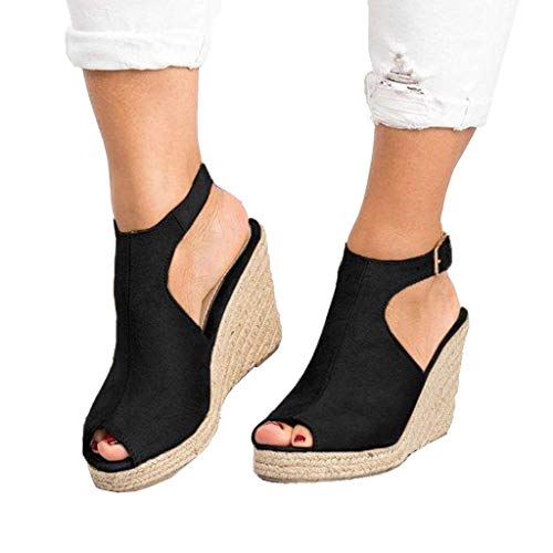 - Espadrille Wedge Adjustable Buckle Sandal On Sale Clearance,melupa Fashion Solid Casual Roman Shoes