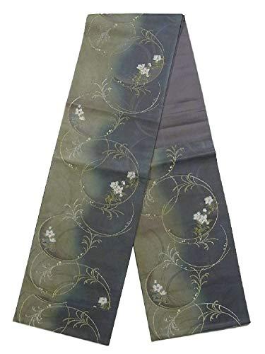 抽出略奪クラッシュリサイクル 袋帯 薄の円文に桔梗の花 正絹 六通柄