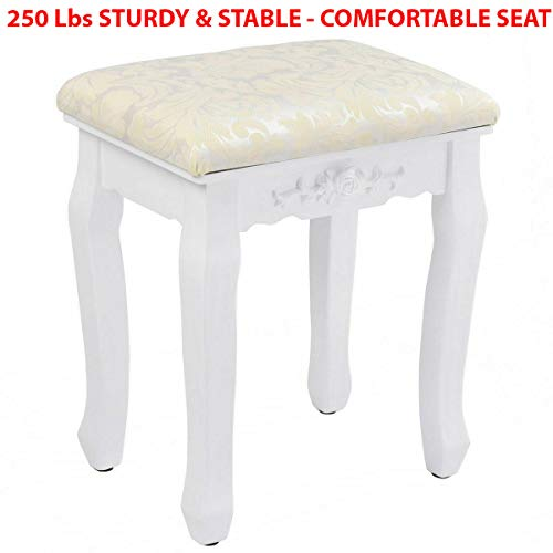 - 250 Lbs Facilehome Wooden Floral Design Dressing Vanity Stool Makeup Stool Makeup Chair Bench with Cushion Piano and Solid Wood Legs Seat Chair (White - Black) (White)