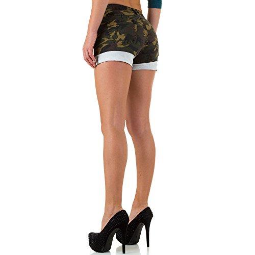 Military Camouflage Hot Pants Shorts Für Damen , Dunkelgrün In Gr. 36 bei Ital-Design