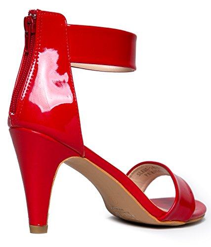 Deliziosi Cinturini Alla Caviglia Da Donna Aperti A Punta Aperta | Abito, Matrimonio, Partito Sandali Con Tacco Rosso Pat Pu