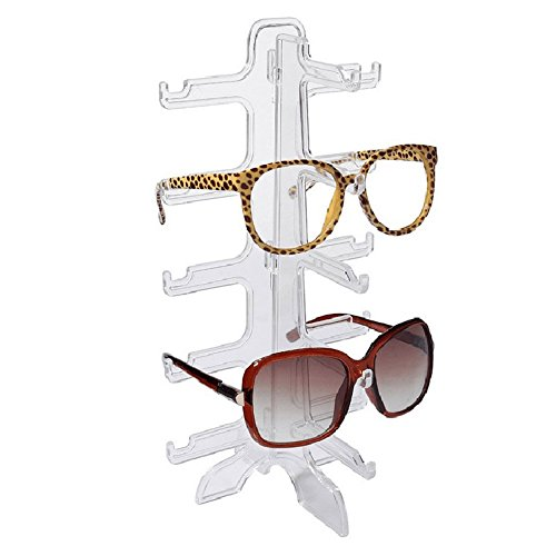 MAGIKON 5 Layers Glasses Eyeglasses Sunglasses Show Stand Holder Fashion Frame Display Rack (5-layer, transparent)