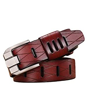 Men's Genuine Leather Leather Belt High-end Wide Pin Buckle Business Casual Jeans Belt Long 125 cm (Color : Red)