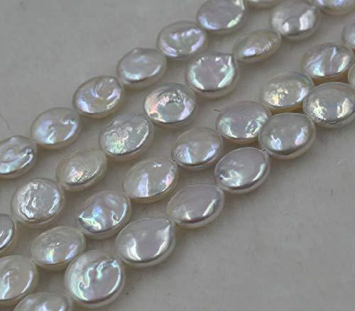 (Calvas Natural White 9-10mm Coin Freshwater Pearl)