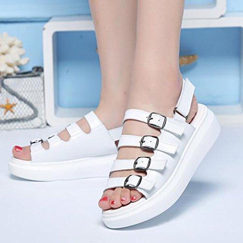 Gruesa Casuales XW Verano Color Zapatos Velcro Sandalias Tamaño Zapatos De mujeres UK5 PU De EU38 Suela Mujer verano Pescado Blanco Blanco Zapatillas Poliuretano chicas Boca Planos para de Zapatillas ratg7a