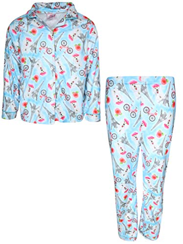 Sweet & Sassy Girls 2-Piece Photo Real Flannel Coat Style Pajama Set, Blue Paris, 4' ()