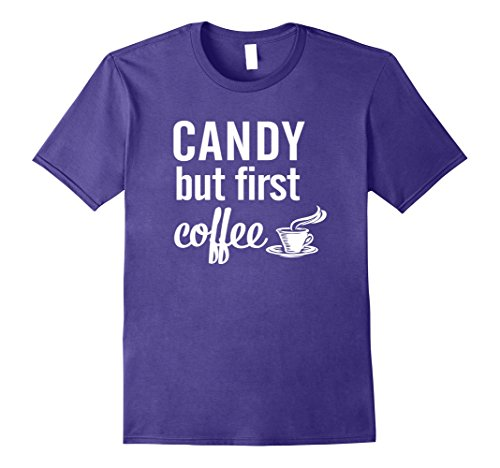 Mens Candy But First Coffee Halloween T-Shirt XL Purple - Cup Of Joe Halloween Costume