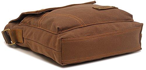 zatous Vintage Lienzo Bolsa de hombro Militar Messenger Bag Bolso de piel Marrón