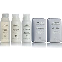 Aveda Amenities Luxury Travel Set- 1 Shampoo, 1 Conditioner, 1 Moisturizer (1.5oz) 2 Bath Bar Soap (1.25oz)