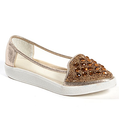 Lady Couture Flat Fashion Sneaker With Rhinestones and Mesh Women's Shoes by, Sky Gold