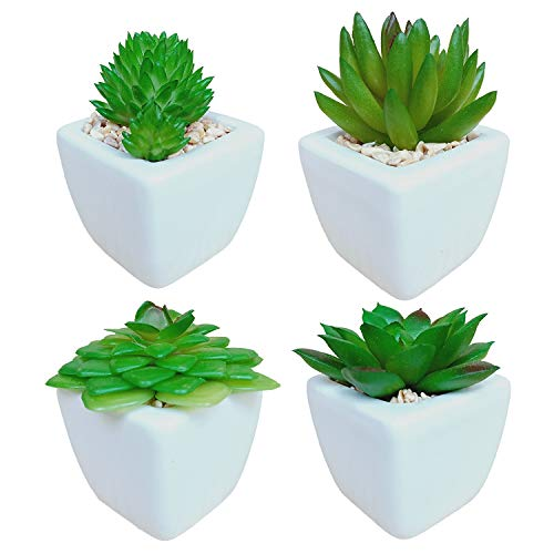 Artificial Succulent Plants Potted in Ceramic Pots for Home Décor and Office, Mini Fake Succulents Artificial Plants, Set of 4