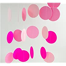 Mulion Colorful Paper Garland Circle Dots, 4M Hanging Ball Banner Decorations for Wedding Birthday Party Baby|Bridal Shower Christmas Holiday Backdrops (Pink)