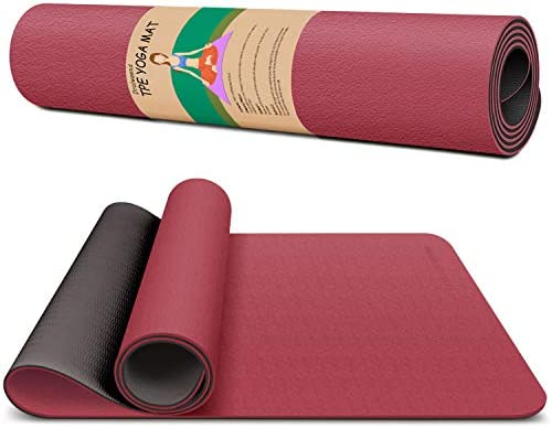 Dralegend Yoga Mat Exercise Fitness Mat – High Density Non-Slip Workout Mat for Yoga, Pilates & Exercises, Anti – Tear, Sweat – Proof, Classic 1/4 Inch
