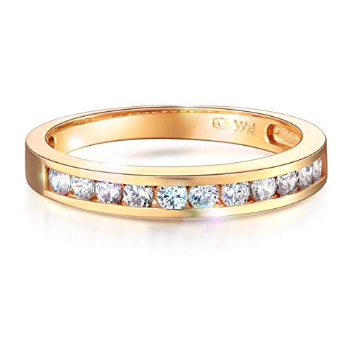 - Wellingsale Ladies Solid 14k Yellow Gold CZ Cubic Zirconia Channel Set Wedding Band - Size 5.5