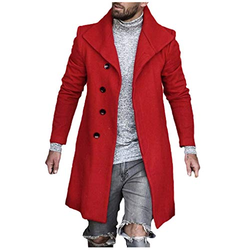 Sumen Men Casual Notch Lapel Single Breasted Mid Long Trench Pea Coat Slim Fit Overcoat Red