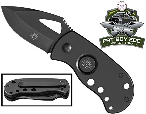 Off-Grid Knives - OG-170B FAT BOY BLACKOUT Pocket Tank Manual Folding Knife - Compact EDC, Razor Sharp Japanese AUS8 Steel, Deep Carry Clip, Safe Button Lock Release (Blackout) (Button Pocket Knives)
