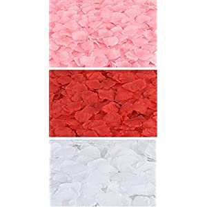 Rose Petals 300 Count (B0NUS ZENI Blossom Bow) Fabric Artificial Fabric Flower for Valentine Ceremony Wedding or Home Hotel Garden Bouquet Party Decorations (Pink, White & RED) 76