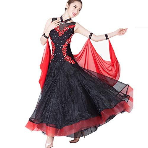 Splicing Sala Abiti Black Moliyanzi Valzer Balli Performance Tulle Competizione cristalli Senza strass Costume Vestito Maniche Da Femminile Standard Nazionale qXUURwIP