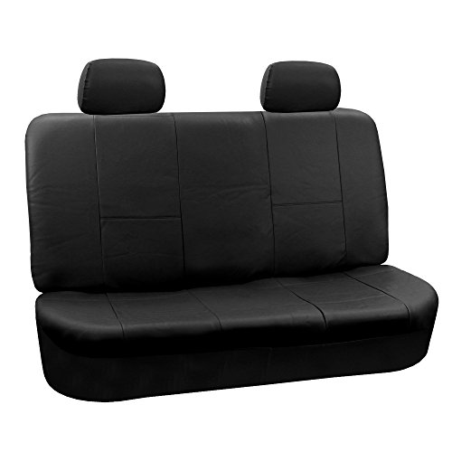 FH GROUP FH-PU002-1012 Classic Exquisite Leather Bench Seat Covers, Split Bench, Solid Black color - Fit Most Car, Truck, Suv, or Van - Seat Classic Covers