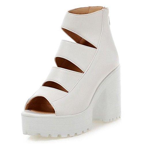 Zapatos Blanco With Cremallera Ancho Peep Sandalias Moda Toe Wrap Tacon Mujer Ankle COOLCEPT OUzqv