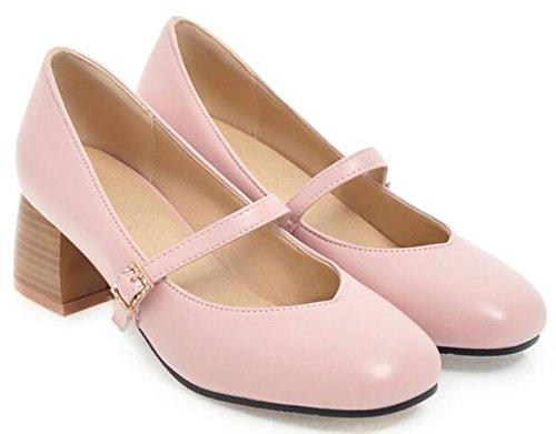 Idifu Womens Dress Cinturino Con Fibbia Low Top Mid Tacco Grosso Pumps Toe Mary-jane Shoes Rosa