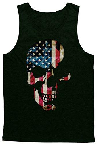 Blittzen Mens Tank Top Skull with American Flag Imprint, XL, Black