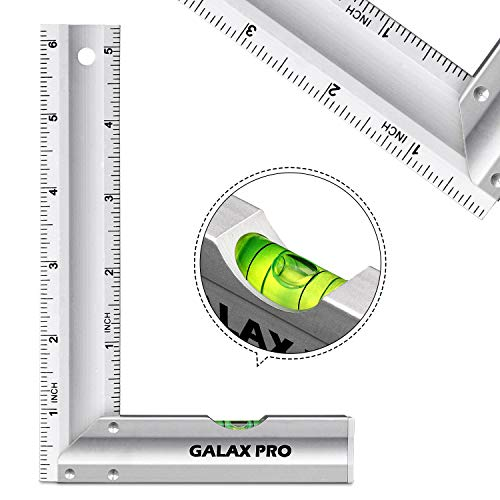 Level & Measuring Layout Tool, GALAX PRO 6-inch L-Shaped Aluminum Try Square with Spirit Level, Green Level Bubble, Aluminum Alloy Handle, Hanging Hole, Ideal for Measuring Right Angle
