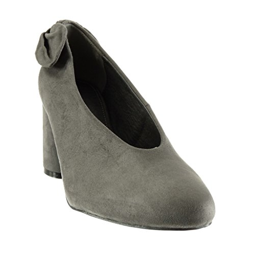 Angkorly - damen Schuhe Pumpe - Slip-On - Dekollete - Knoten Blockabsatz high heel 7.5 CM Grau