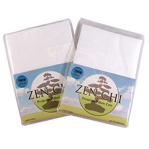 "Zen Chi Twin Pillow Case (2 Pack)- Organic Cotton Pillowcase w 400 Thread Count- 100% All Natural Design Fits All Twin Sized Pillows (20"" x 26"")"