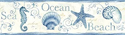 Chesapeake DLR53561B Island Bay Blue Seashells Wallpaper Border