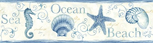 Chesapeake DLR53561B Island Bay Blue Seashells Wallpaper Border