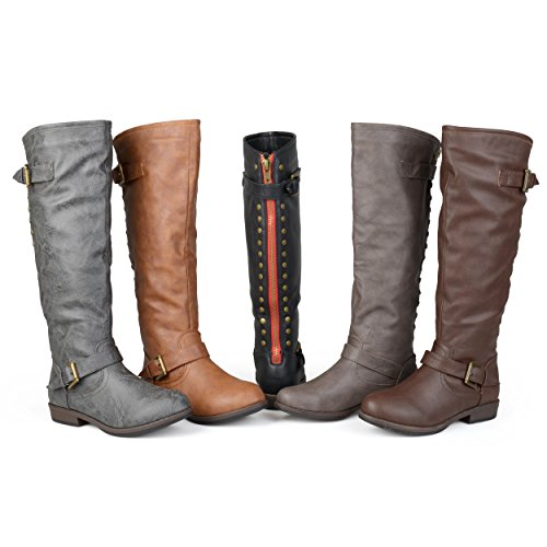 Brinley Co. Womens Extra Wide Calf Knee-high Studded Riding Boots Dark Grey, 10 Extra Wide Calf US