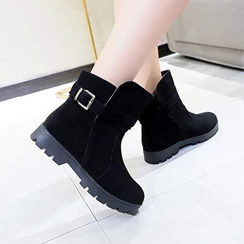 Plat Bout Cuissardes Fourrure Bottines Noir Hiver Slip Femmes Chaussures on Soft Sonnena De Fourrées Neige Rond C Neige Automne Bottes wOSTXxZq