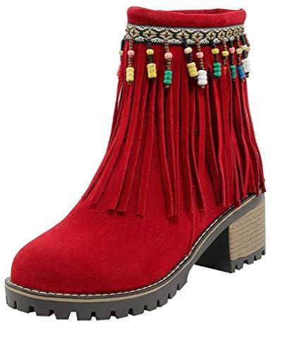 Calaier Heel Women Boots Block Zipper 6CM Red ankcib rxrXwqSBg1