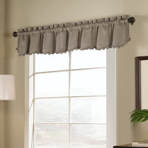 VOGOL Jacquard Valances for Windows, Floral Pattern Faux Silk Window Treatment Valance Curtain 18 Inch Long Rod Pocket Valance for Small Windows, One Panel