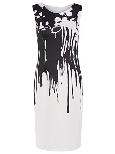 Women's Bodycon Cocktail Party Print Sleeveless Black Floral Neck Summer Floerns White Dresses Round Sexy amp; wdYqTXWx