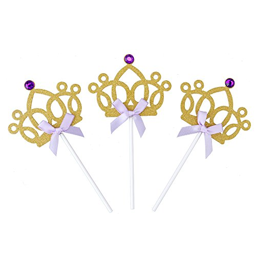 Looching 24 Packs Glitter Purple Diamond Gold Cupcake Topper Crown Princess Purple Bow Cake Dessert Birthday Anniversary Decoration