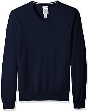 Men's Long Sleeve V-Neck Cotton Sweater