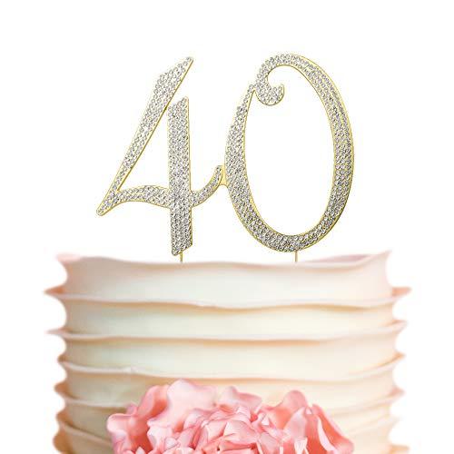 40 Cake Topper | GOLD | Birthday or Anniversary | Premium Diamond Crystal Rhinestones | Monogram Number Forty | 40th Birthday or Anniversary Party Supply Decoration Ideas | Perfect Keepsake (40 Gold) -