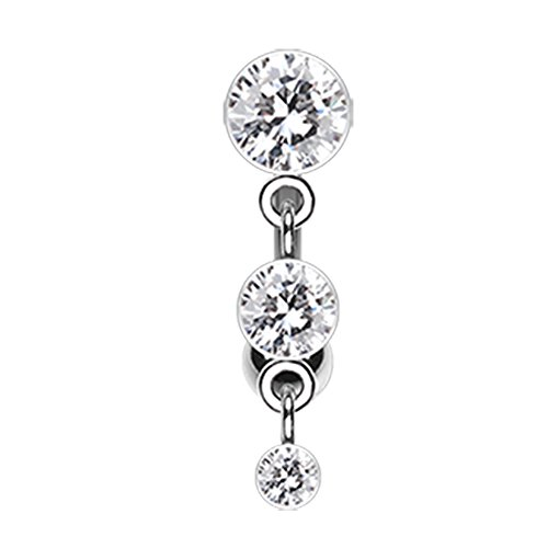 Inspiration Dezigns 14G Triple Crystalline Reverse Belly Button Navel Rings Barbell Stud