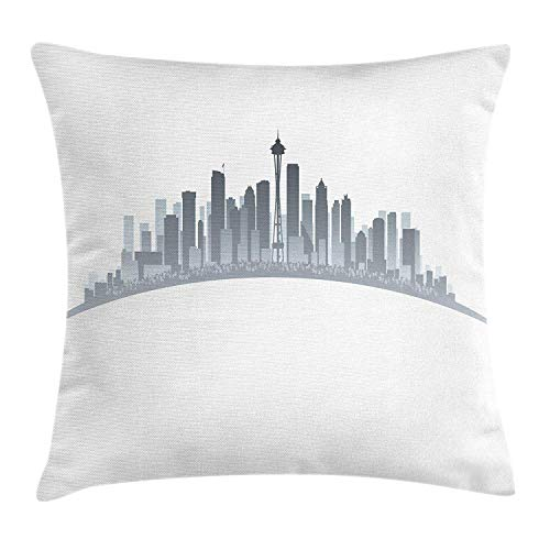 Queolszi Seattle Throw Pillow Cushion Cover, Silhouette of Washington City Tourist Attraction Space Needle in The Middle, Decorative Square Accent Pillow Case, 18 X 18 inches, Grey Pale Grey