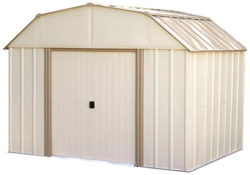 Arrow LX1014 10 x 14 ft. Barn Style Galvanized Taupe/Eggshell Steel Storage Shed