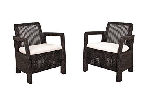 Keter Tarifa - Conjunto de sillones de jardin exterior con cojines incluidos, Color marron
