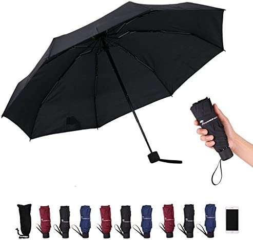 Ladies Umbrella Bright Colours Compact Folding Manual Lightweight Strap Handbag