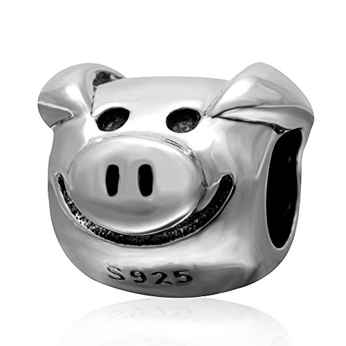 (Cute Pig Charm 925 Sterling Silver Charm Animal Charm Fit Woman European Bracelet)