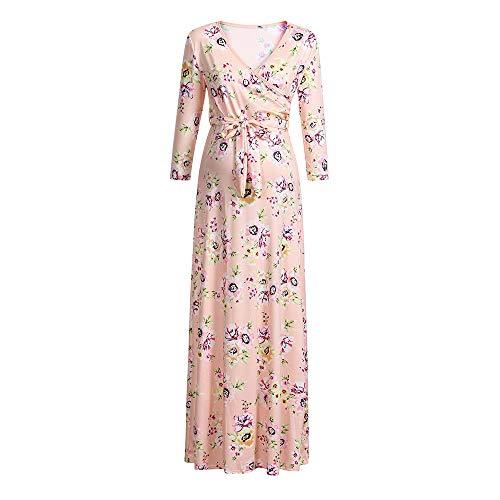 BOLUOYI 2019 Sale! Maternity Collared Shirt Women's Pregnancy V Collar Long Sleeve Dress Maternity Floral Print Sundress Pink S -